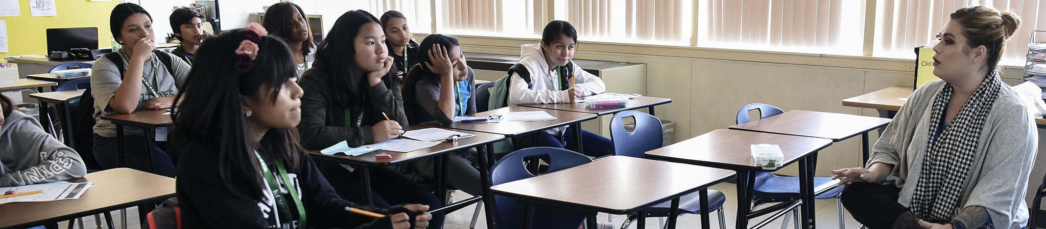 Several students sitting at their desks in a classroom face the teacher
